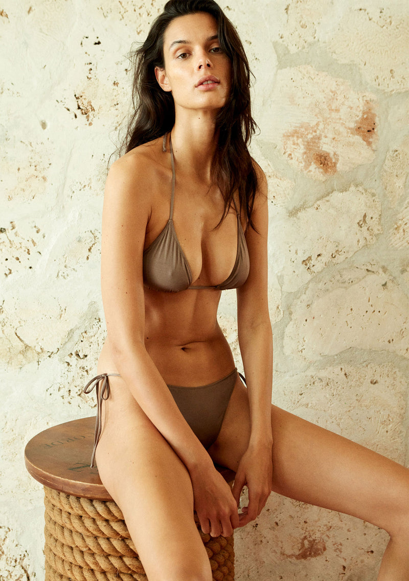 Strappy triangle bikini top made from sustainable fabrics, ethically made. Sustainable swimwear brand from Barcelona.