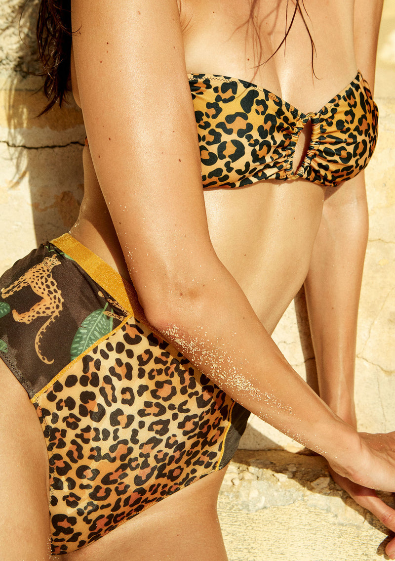 Leopard bandeau bikini top made from sustainable fabrics, ethically made. Sustainable swimwear brand from Barcelona.