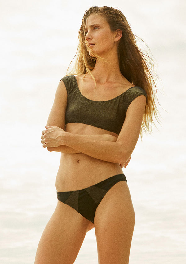 Lurex bikini bottom made from sustainable fabrics, ethically made. Sustainable swimwear brand from Barcelona.
