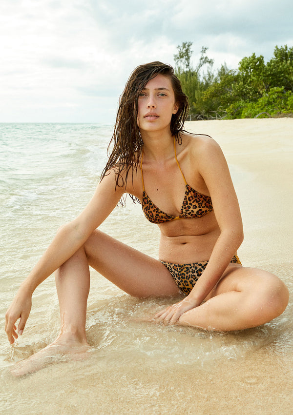 Leopard bikini top made from sustainable fabrics, ethically made. Sustainable swimwear brand from Barcelona.