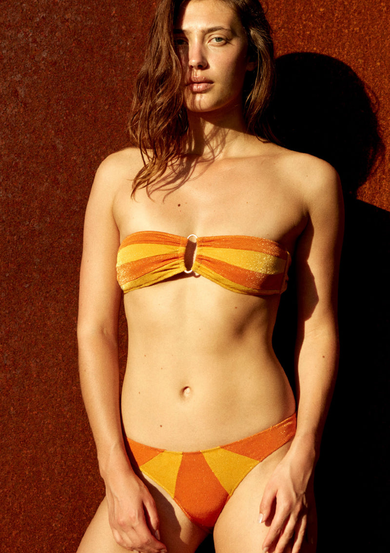 Lurex bandeau bikini top made from sustainable fabrics, ethically made. Sustainable swimwear brand from Barcelona.