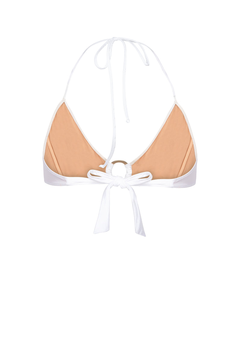 Triangle bikini top made from sustainable fabrics, ethically made. Sustainable swimwear brand from Barcelona.