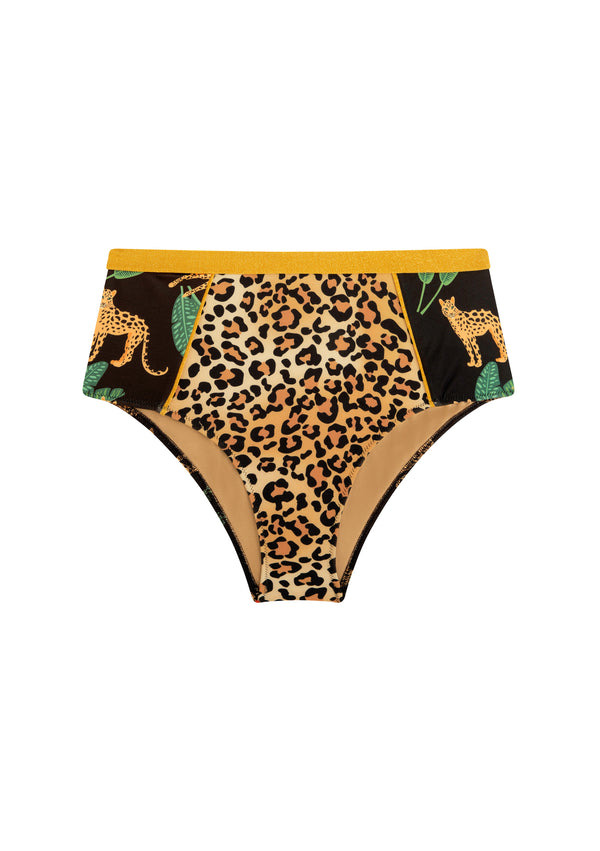 High-waisted leopard bikini bottom made from sustainable fabrics, ethically made. Sustainable swimwear brand from Barcelona.