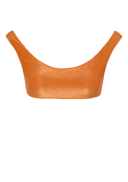 Orange lurex bikini top made from sustainable fabrics, ethically made. Sustainable swimwear brand from Barcelona.