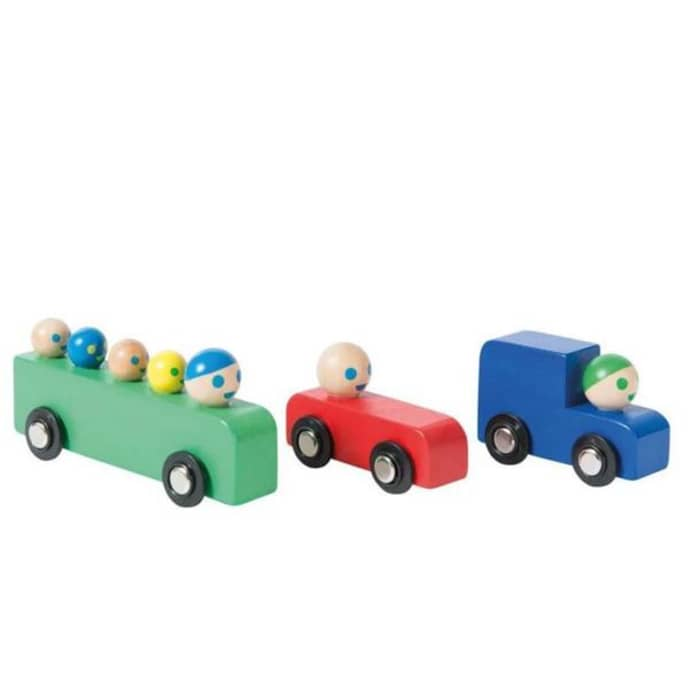 Moulin Roty Set of Wooden Cars and Bus