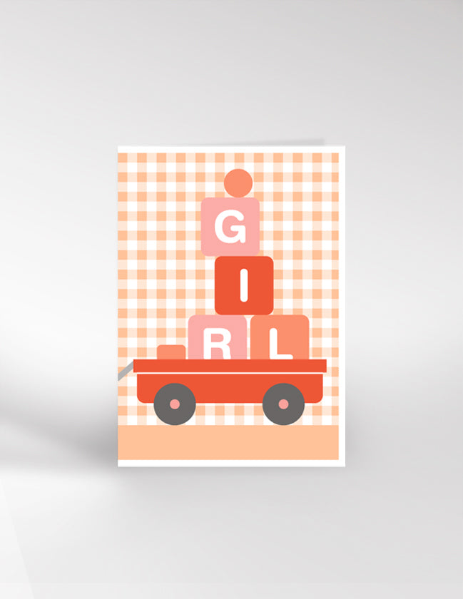 Dicky Bird Bricks Girl Card