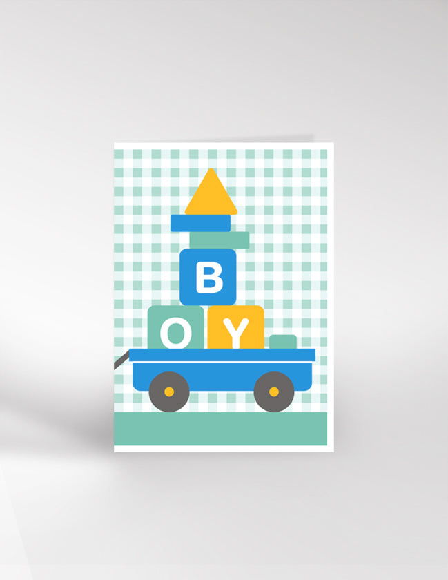 Dicky Bird Bricks Boy Card
