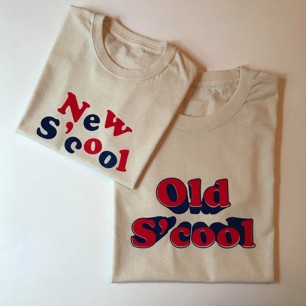 Old S'Cool T Shirt - Oat / Cherry / Cornflower