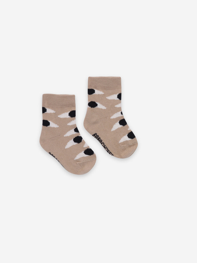 Bobo Choses Eyes Beige Baby Socks
