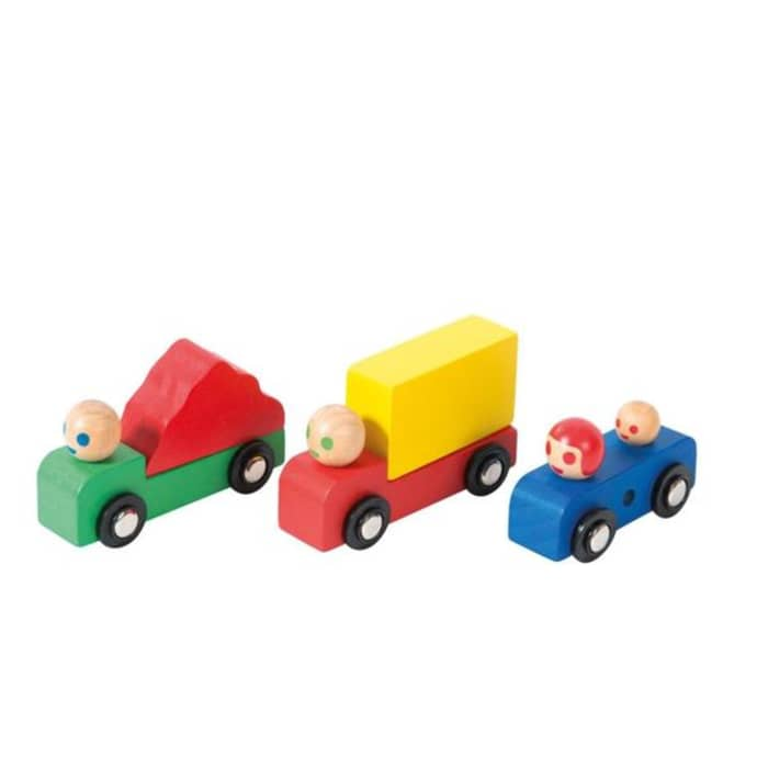 Moulin Roty Set of Wooden Cars and Trucks
