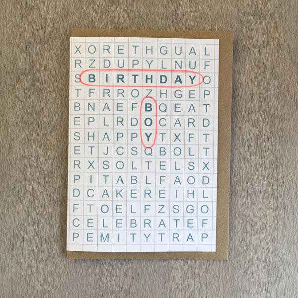 Birthday Boy Word Search Card