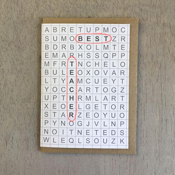 Best Teacher Word Search Card - ANNUAL STORE