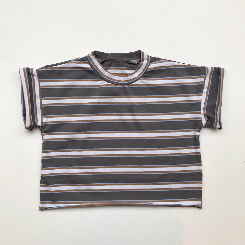 Grey Striped Loose Fit T Shirt