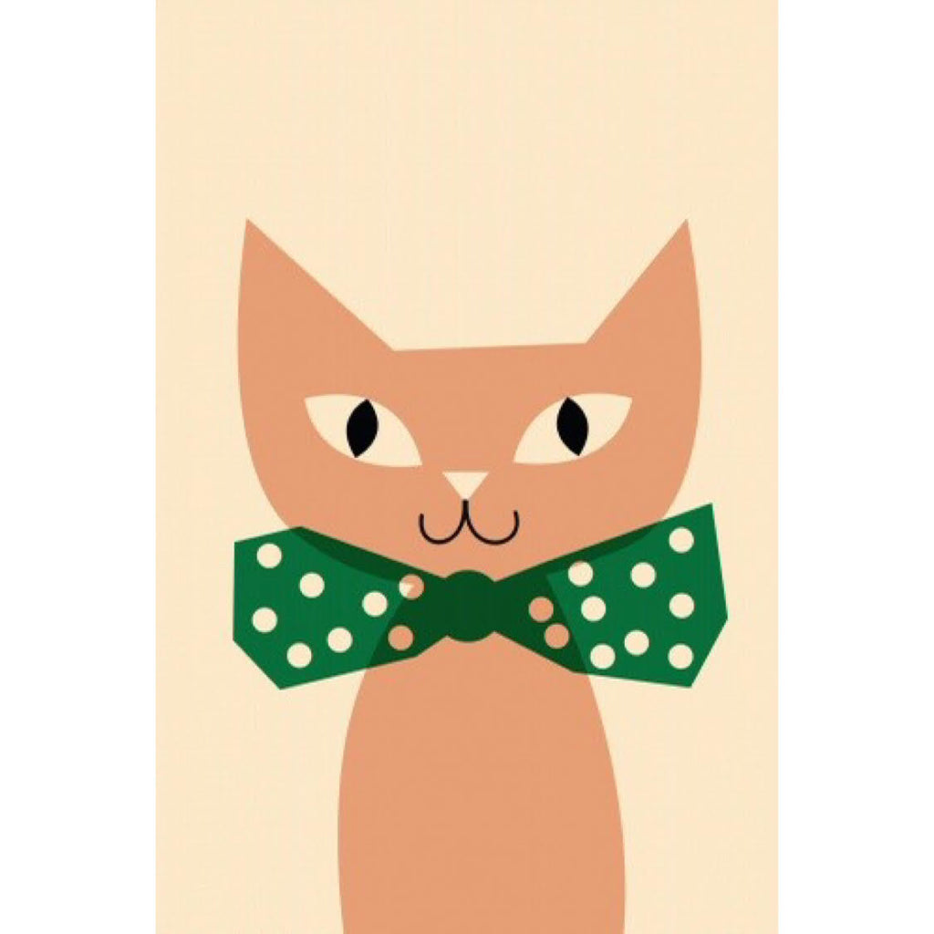 Pink Cat - Green Bow Poster by Anna Kövecses