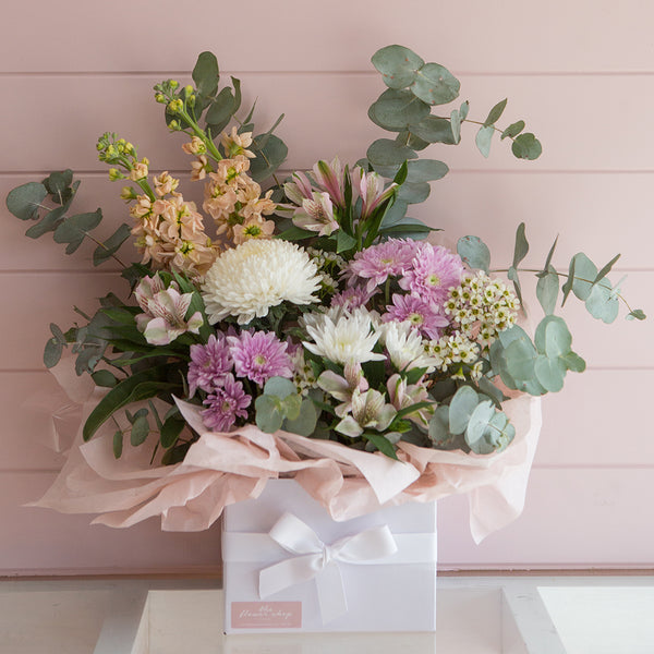 Think Pink Blooms Box by The Flower Shop Flowers Tatura Florist