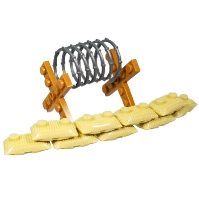 Minifig 9 Sand Bags and 1 Barbed Wire Set - Dioramas