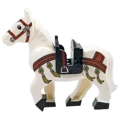 Minifig White Horse with Brown Body Strap - Animals