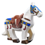 Minifig White Horse with Blue Body Strap - Animals
