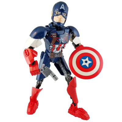 Brick Capt America Figure (42 Pieces) - Buildable Figure