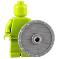 Minifig Silver Wooden Viking Shield - Shield