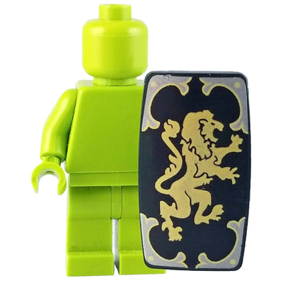 Minifig Black Roman Shield with Gold Lion - Shield