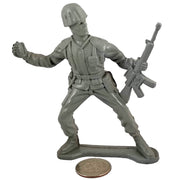 Large Army Soldier Throwing Grenade - Grey - Collectable