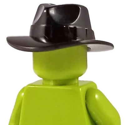 Minifig Cowboy Fedora or Outback Hat BLACK - Headgear