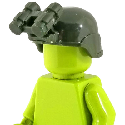 Minifig Ballistic Helmet with NVG - Olive Green - Headgear