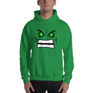 Brick Forces Angry Face Unisex Hoodie - Irish Green / S - Printful Clothing
