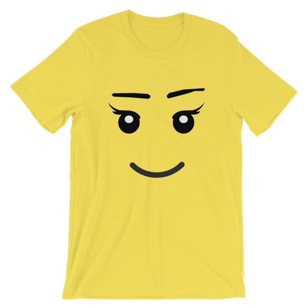 Brick Forces Girl Face Short-Sleeve Unisex T-Shirt - Yellow / S