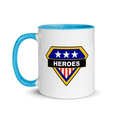 Brick Forces Heroes Mug with Color Inside - Blue - Printful Clothing
