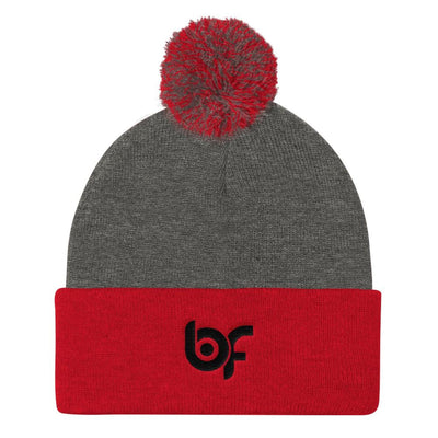 Brick Forces Logo Black Embroidery Pom Pom Knit Cap - Dark Heather Grey/ Red - Printful Clothing