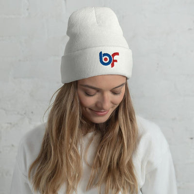 Brick Forces Logo Cuffed Beanie - White - Printful Clothing