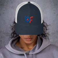 Brick Forces Logo Embroidered Trucker Cap - Navy/ White - Printful Clothing