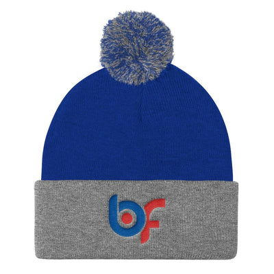 Brick Forces Logo Embroidery Pom Pom Knit Cap - Royal/ Heather Grey - Printful Clothing