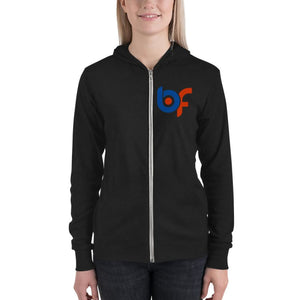 Brick Forces Logo Unisex Zip Hoodie - Solid Black Triblend / XS - Printful Clothing