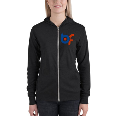 Brick Forces Logo Unisex Zip Hoodie - Charcoal black Triblend / XS - Printful Clothing