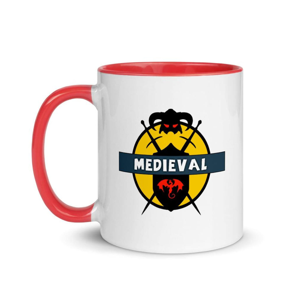 Brick Forces Medieval Mug with Color Inside - Red - Printful Clothing