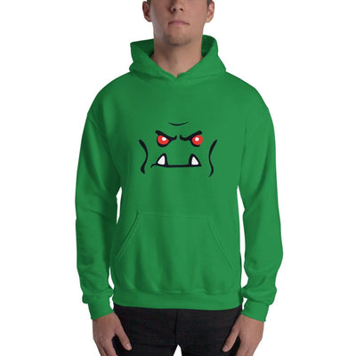 Brick Forces Orc Face Hooded Sweatshirt - Irish Green / S - Printful Clothing