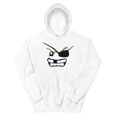 Brick Forces Pirate Face Unisex Hoodie - White / S - Printful Clothing