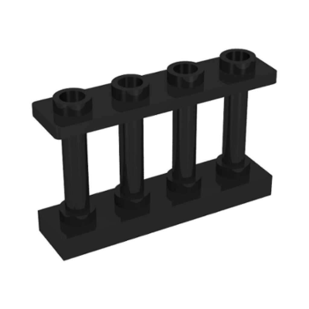 Minifig Black Fence 1 x 4 x 2 Spindled with 4 Studs - Dioramas