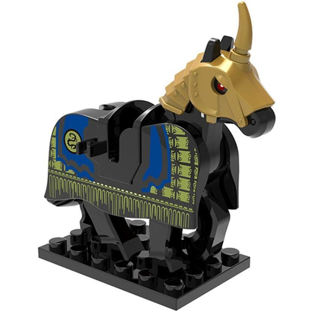 Minifig Black Knights Horse With Gold Shaffron - Animals