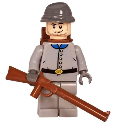 Minifig Civil War Confederate Soldier in Grey Uniform - Minifigs