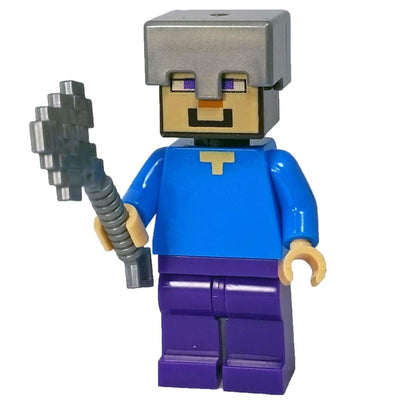 Minifig Cube Head Steve with Axe - Minifigs
