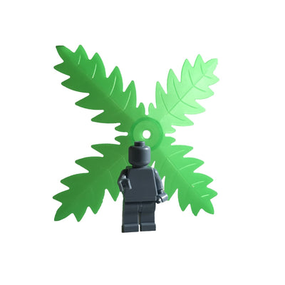 Minifig Four Way Palm Leaf Green (1 Piece) - Vegetation