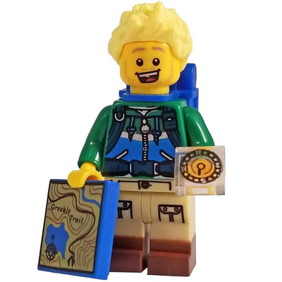 Minifig Hiker with Blue Backpack - Minifigs