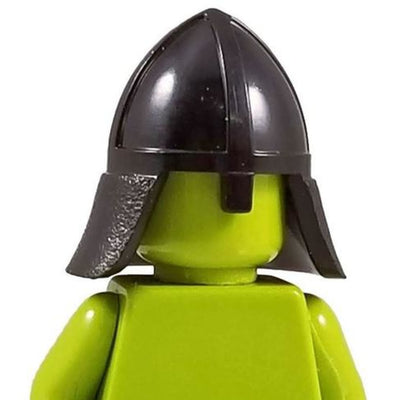 Minifig Knight Helmet with Neck Protector Black - Headgear