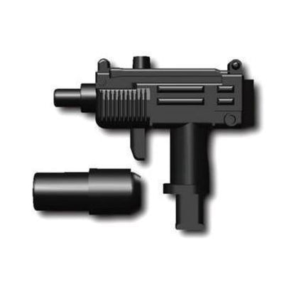 Minifig Mini UZI with REMOVABLE Silencer - Machine Gun