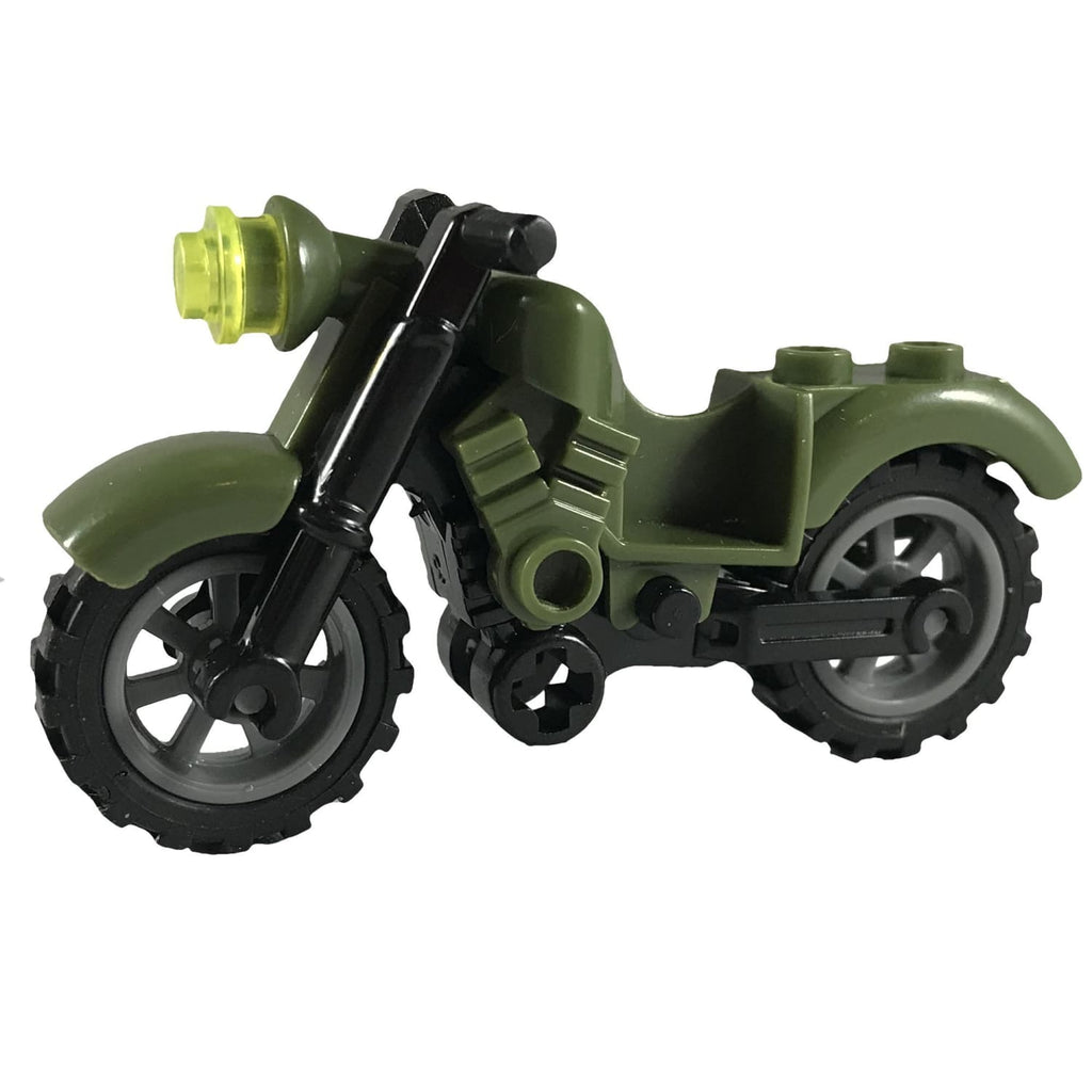 Minifig Motorcycle Indian with Rubber Tires Olive - Motorcycles