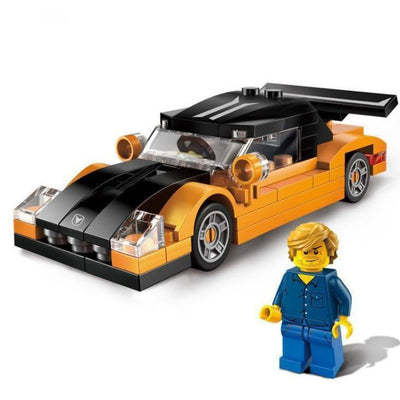 Minifig OConner with Orange Car - Vehicles
